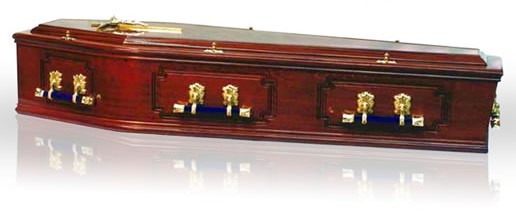 Solid Mahogany Coffin – 3 Panel Sides 2