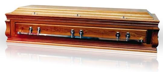 Cardinal Solid Oak Panel Sided Casket